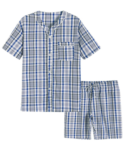 Men's Summer Cotton Pajamas Shorts Set