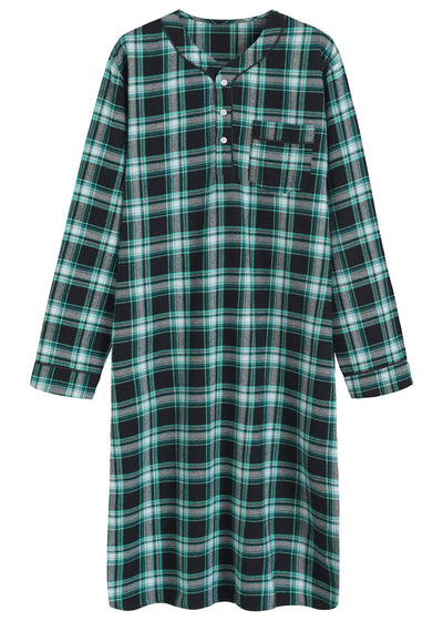 Men's Cotton Flannel Nightshirt Sleep Shirt - Latuza