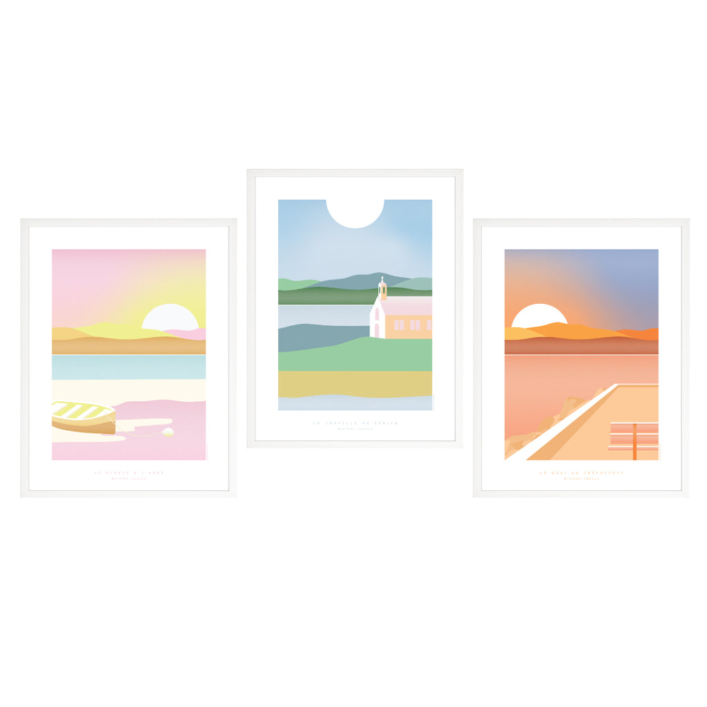 SET OF 3 SMALL ART PRINTS / SUN