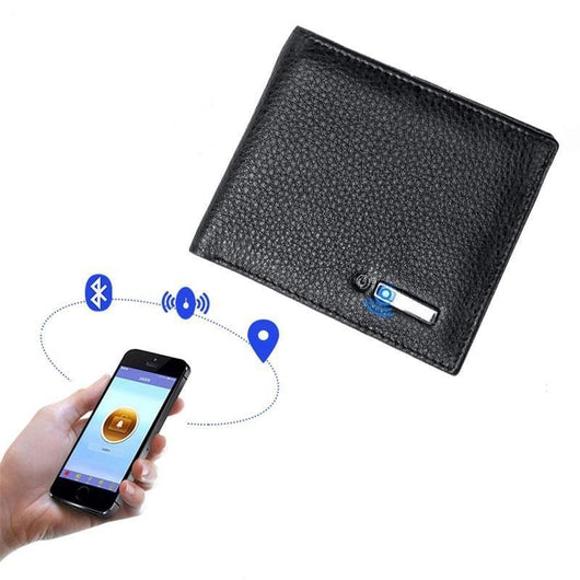 Genuine Leather Smart Wallet With GPS Tracker