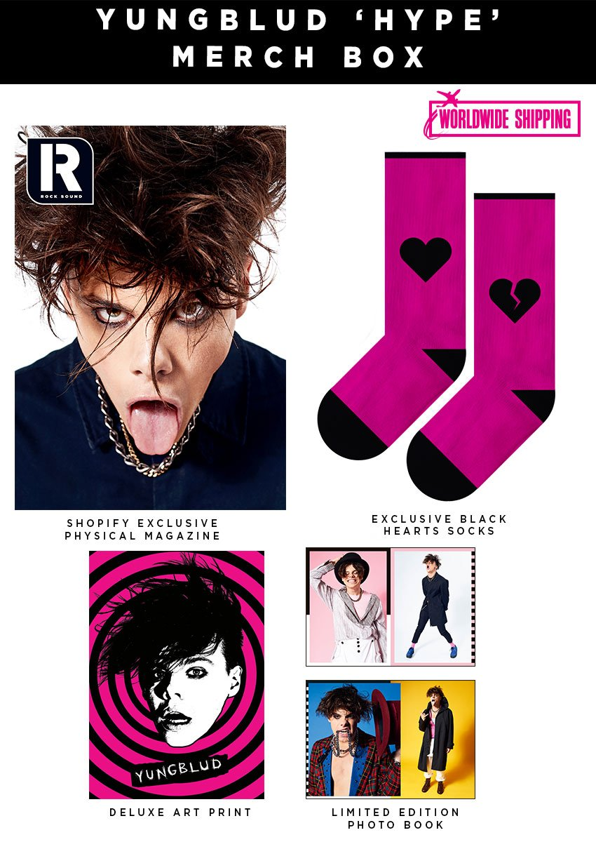 Rock Sound Issue 248.2 - Yungblud Hype Merch Box Say hello to 2019's new superstar - Yungblud! To celebrate his first EVER cover feature, we've teamed up with YB himself to bring you this exclusive 'Hype' merch box