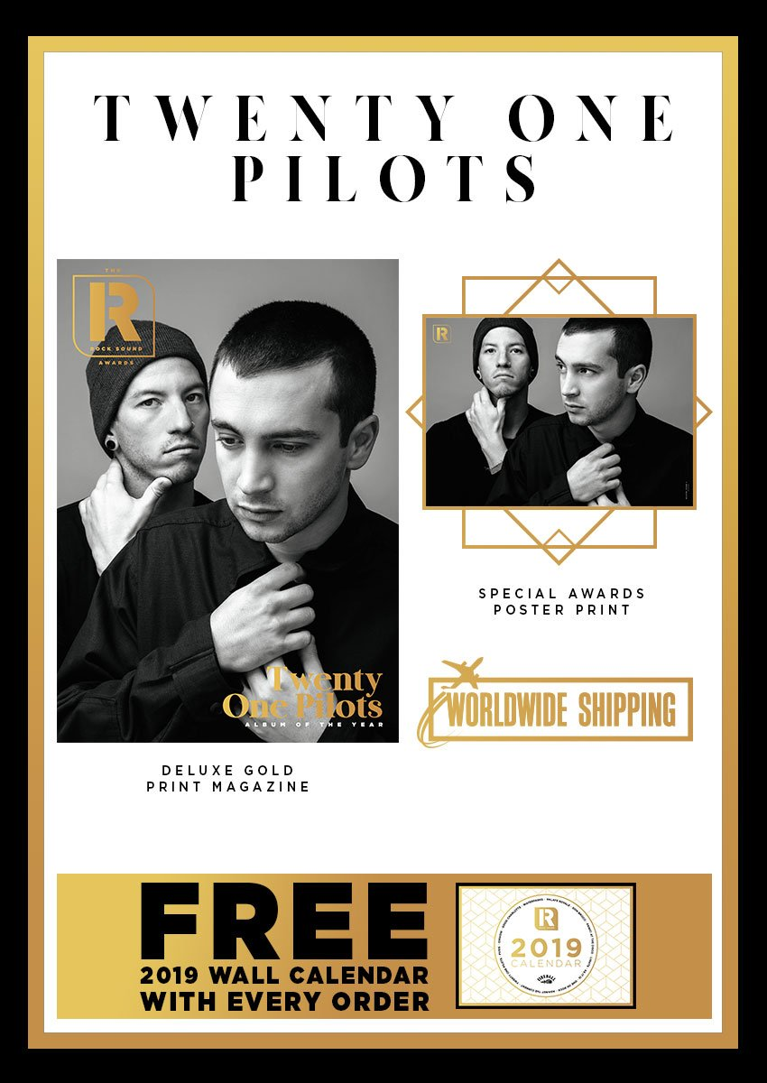 Rock Sound Awards 247.7 - Twenty One Pilots - Rock Sound Shop Twenty One Pilots limited edition Rock Sound Awards collectors' bundle, featuring deluxe gold print magazine, exclusive interview with Tyler Joseph and Josh Dun, plus a unique photo shoot and special award poster print.