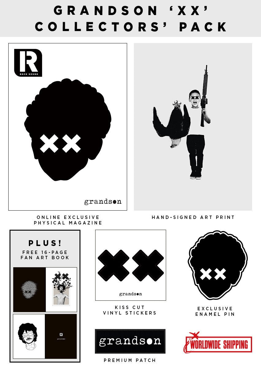 Rock Sound Issue 249.1 - Grandson 'XX' Collectors' Pack https://shop.rocksound.tv/products/preorder-rock-sound-issue-249-1-grandson-xx-collectors-pack Meet rock's new leader of the resistance - Grandson. To celebrate his first cover anywhere in the world, we've teamed up with him for this exclusive 'XX' Collectors' Pack, - Online exclusive physical magazine - Hand-signed art print - enamel pin badge - Premium patch - vinyl stickers - 16-page Grandson fan art book