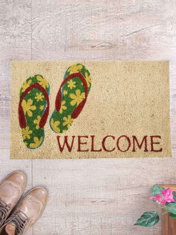 SWHF Premium Coir and Rubber Quirky Design Door and Floor Mat : Flip-Flop Welcome - SWHF