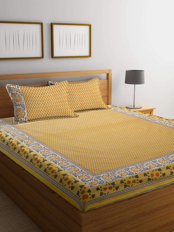 Chic Home Premium Cotton Printed Double Bed Sheet with 2 Pillow Covers: Yellow - SWHF