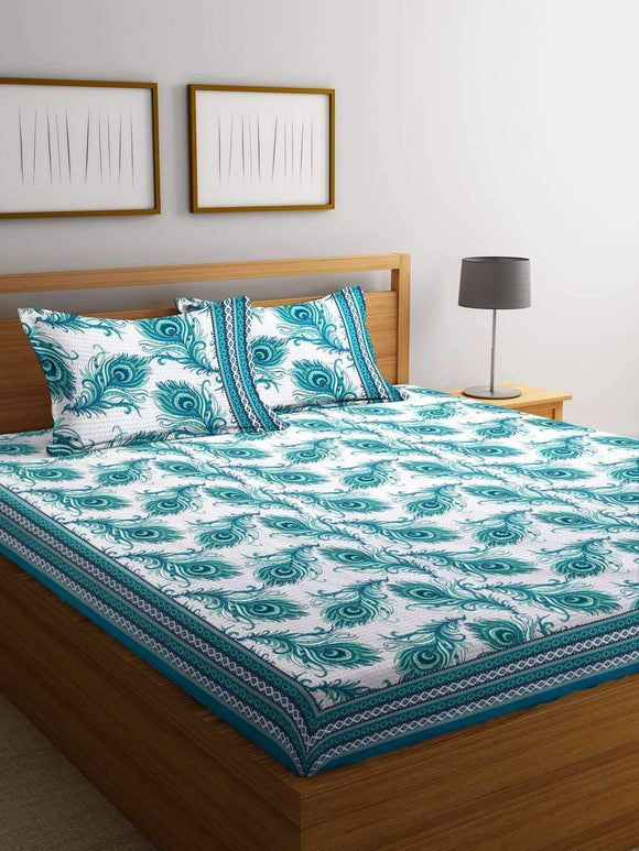 Chic Home Premium Cotton Printed Double Bed Sheet with 2 Pillow Covers: Turquoise - SWHF