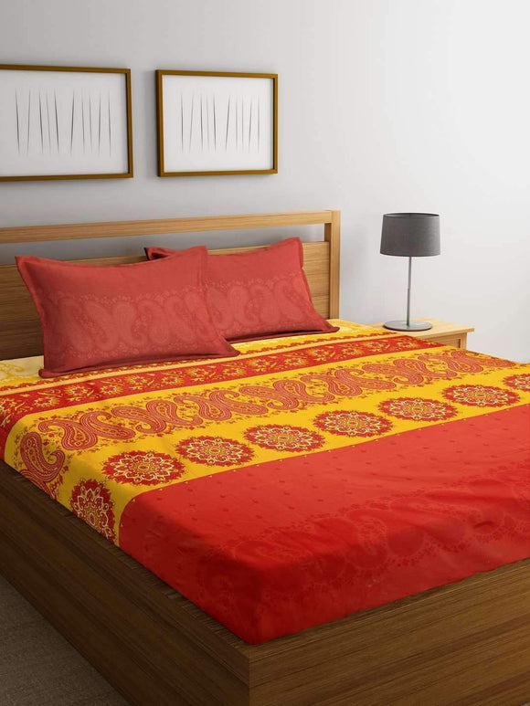 Chic Home Premium Cotton Printed King Bed Sheet with 2 Pillow Covers: Yellow - SWHF