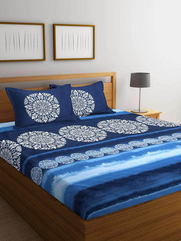 Chic Home Premium Cotton Printed King Bed Sheet with 2 Pillow Covers: Blue - SWHF