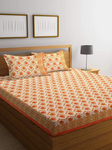 Chic Home Premium Cotton Printed Double Bed Sheet with 2 Pillow Covers: Orange - SWHF