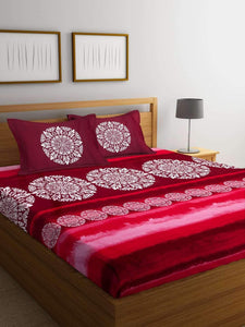 Chic Home Premium Cotton Printed King Bed Sheet with 2 Pillow Covers: Pink - SWHF
