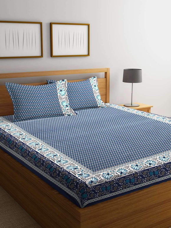Chic Home Premium Cotton Printed Double Bed Sheet with 2 Pillow Covers: Blue - SWHF