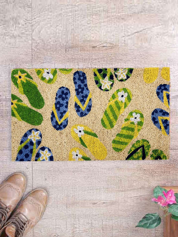 SWHF Premium Coir and Rubber Quirky Design Door and Floor Mat : Flip-Flop