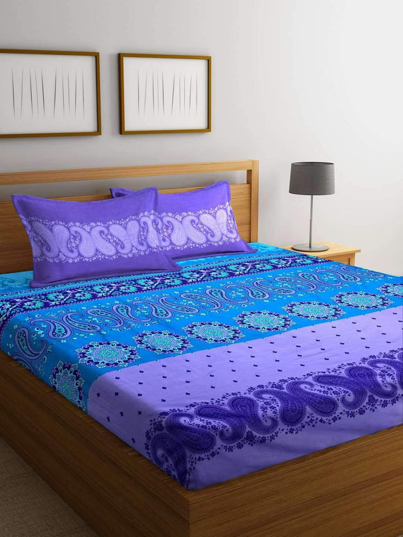 Chic Home Premium Cotton Printed King Bed Sheet with 2 Pillow Covers: Purple - SWHF