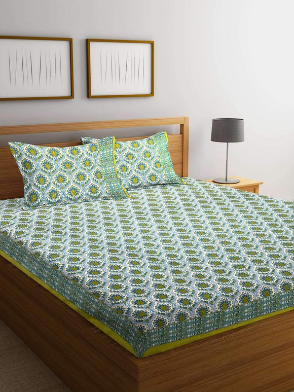 Chic Home Premium Cotton Printed Double Bed Sheet with 2 Pillow Covers: Green - SWHF