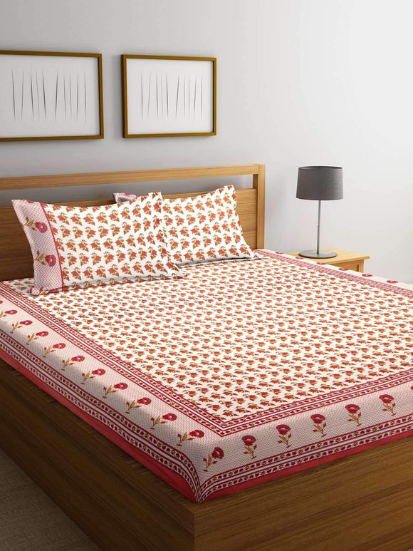 Chic Home Premium Cotton Printed Double Bed Sheet with 2 Pillow Covers: Red - SWHF