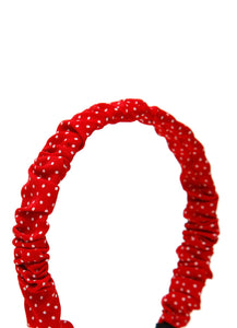 Stol'n Red gathe Fabric polka dot print Hair band for Girls