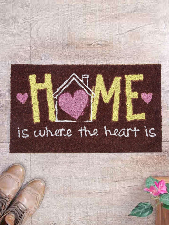 SWHF Premium Coir and Rubber Quirky Design Door and Floor Mat : Home is Where the Heart is - SWHF