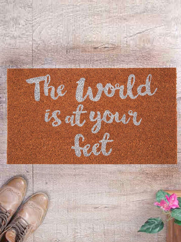 SWHF Premium Coir and Rubber Quirky Design Door and Floor Mat : The World is at your feet - SWHF