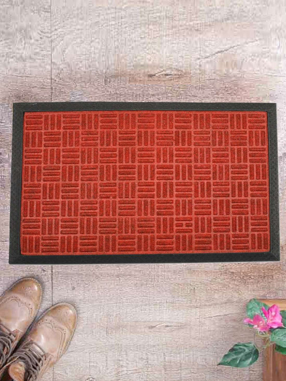 SWHF Premium PP and Rubber Door and Floor Mat Virgin Rubber and Extremely Durable : Red Criscross - SWHF