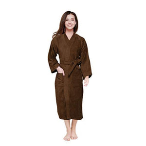 Turkish Bath Premium Cotton Unisex Kids Bathrobe -  Brown - SWHF