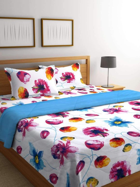 Chic Home Premium 300 TC Cotton Bedding Set: 1 Comforter+1 Bed Sheet+ 2 Pillow Covers (Blue Bird) - SWHF