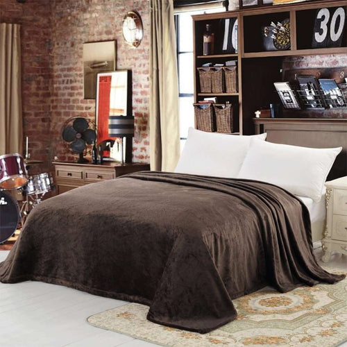 Copy of Chich Home Double Bed French Fleece Blanket: Brown - SWHF