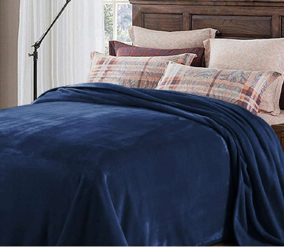 Chich Home Double Bed French Fleece Blanket: Navy Blue - SWHF