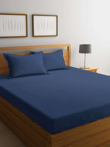 Chic Home Cotton King Size Bedsheet with 2 Pillow Covers : Navy Blue - SWHF