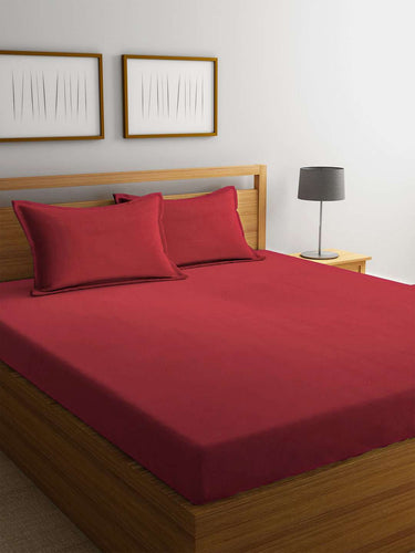 Chic Home Cotton King Size Bedsheet with 2 Pillow Covers : Red - SWHF