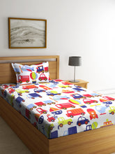 Load image into Gallery viewer, Chic Home Kids 180 TC Cotton Single Bedsheet with One Pillow Covers -Multi - SWHF