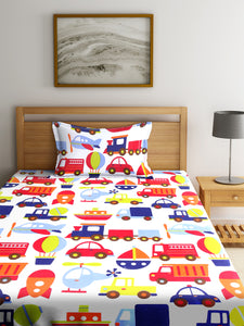 Chic Home Kids 180 TC Cotton Single Bedsheet with One Pillow Covers -Multi - SWHF