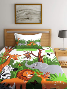 SWHF Chic Home Kids 180 TC Cotton Single Bedsheet with One Pillow Covers (Jungle)