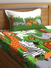 Load image into Gallery viewer, SWHF Chic Home Kids 180 TC Cotton Single Bedsheet with One Pillow Covers (Jungle)