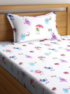 SWHF Chic Home Kids 180 TC Cotton Single Bedsheet with One Pillow Covers (Monsters Hunt)