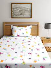 Load image into Gallery viewer, SWHF Chic Home Kids 180 TC Cotton Single Bedsheet with One Pillow Covers (Monsters Hunt-1)