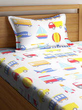 Load image into Gallery viewer, SWHF Chic Home Kids 180 TC Cotton Single Bedsheet with One Pillow Covers (Transport)