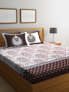 Chic Home 400 TC Cotton Double King Bedsheet with 2 Pillow Covers-Brown - SWHF