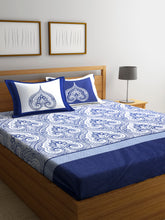 Load image into Gallery viewer, Chic Home 400 TC Cotton Double King Bedsheet with 2 Pillow Covers-Blue - SWHF