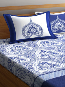 Chic Home 400 TC Cotton Double King Bedsheet with 2 Pillow Covers-Blue - SWHF