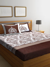 Load image into Gallery viewer, Chic Home 400 TC Cotton Double King Bedsheet with 2 Pillow Covers-Brown - SWHF