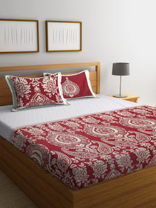 Chic Home 400 TC Cotton Double King Bedsheet with 2 Pillow Covers-Red - SWHF