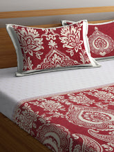 Load image into Gallery viewer, Chic Home 400 TC Cotton Double King Bedsheet with 2 Pillow Covers-Red - SWHF