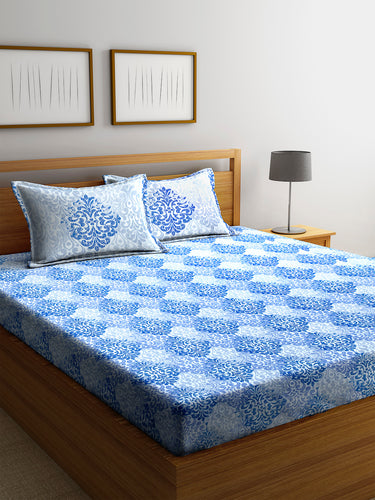 Chic Home 600 TC Cotton Double King Bedsheet with 2 Pillow Covers-Blue - SWHF