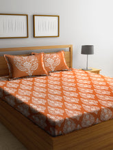 Load image into Gallery viewer, Chic Home 600 TC Cotton Double King Bedsheet with 2 Pillow Covers-Orange - SWHF