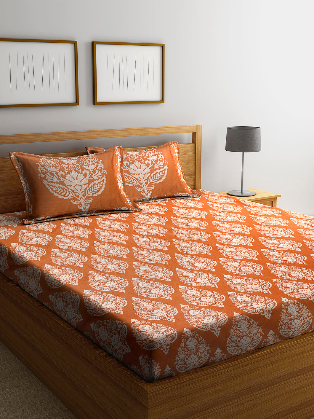 Chic Home 600 TC Cotton Double King Bedsheet with 2 Pillow Covers-Orange - SWHF