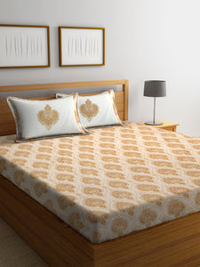 Chic Home 600 TC Cotton Double King Bedsheet with 2 Pillow Covers-Beige - SWHF