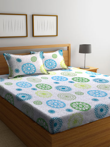 Chic Home 144 TC Cotton Double Bedsheet with 2 Pillow Covers-Blue - SWHF
