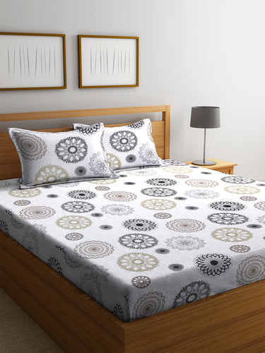 Chic Home 144 TC Cotton Double Bedsheet with 2 Pillow Covers-Grey - SWHF