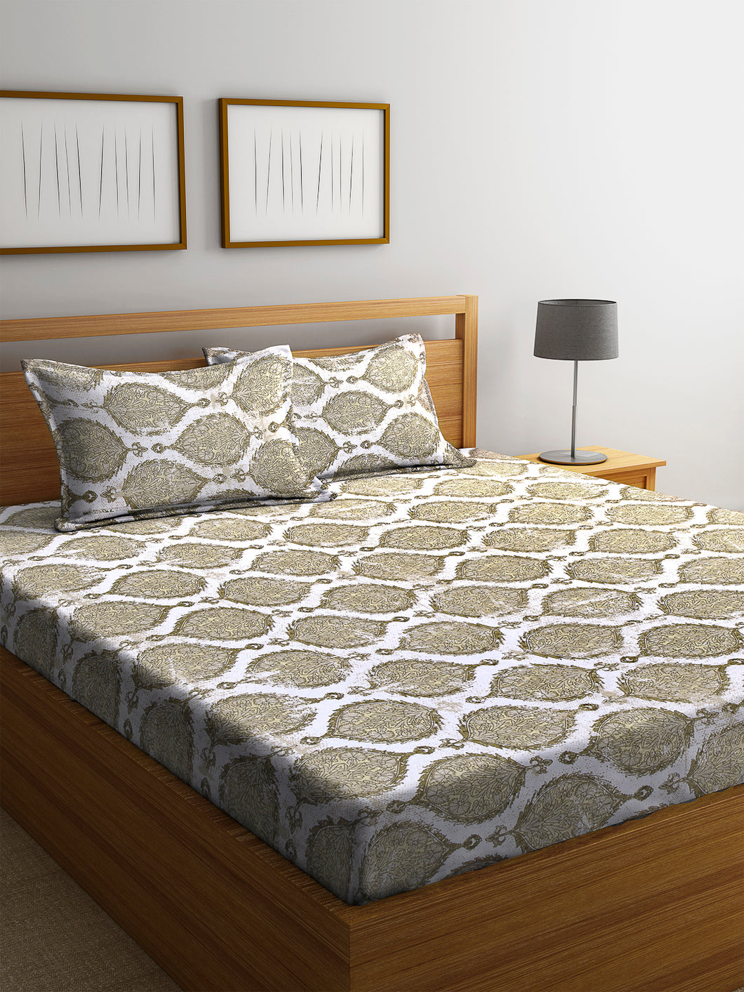 Chic Home 144 TC Cotton Double Bedsheet with 2 Pillow Covers-Beige - SWHF