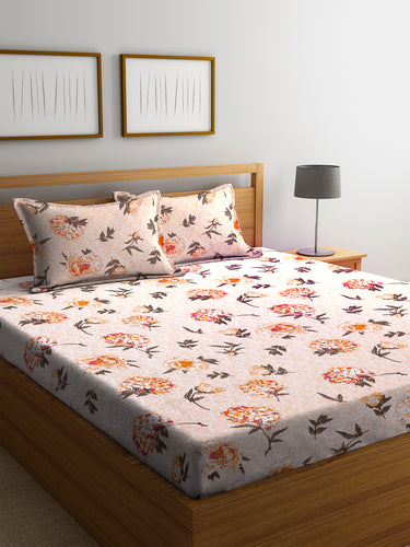 Chic Home 144 TC Cotton Double Bedsheet with 2 Pillow Covers-Orange - SWHF